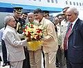 Pranab Mukherjee being received by the Governor of Telangana and Andhra Pradesh, Shri E.S.L. Narasimhan and the Chief Minister of Andhra Pradesh, Shri N. Chandrababu Naidu on his arrival at Tirupati Airport.jpg