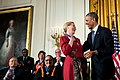 President Barack Obama presents the Presidential Medal of Freedom to actress Meryl Streep during a ceremony in the East Room of the White House.jpg