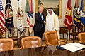 President Donald Trump meet with His Highness Sheikh Mohamed bin Zayed Al Nahyan, Crown Prince of Abu Dhabi, in the Oval Office of the White House, Monday, May 15, 2017 (02).jpg