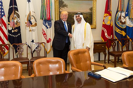 Sheikh Mohammed bin Zayed Al Nahyan and U.S. President Donald Trump in Washington DC, May 2017 President Donald Trump meet with His Highness Sheikh Mohamed bin Zayed Al Nahyan, Crown Prince of Abu Dhabi, in the Oval Office of the White House, Monday, May 15, 2017 (02).jpg