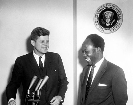 Kennedy with Kwame Nkrumah, the first head of an independent Ghana, March 1961 President John F. Kennedy Meets with the President of the Republic of Ghana, Osagyefo Dr. Kwame Nkrumah (JFKWHP-AR6409-B).jpg