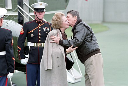 British Prime Minister Margaret Thatcher (here with Reagan in 1986) granted the U.S. use of British airbases to launch the Libya attack President Ronald Reagan Welcomes Prime Minister of The United Kingdom Margaret Thatcher Before Their Meetings at Camp David.jpg