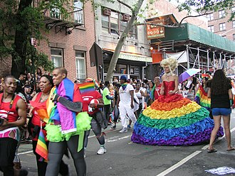 The scene at Manhattan's 2015 LGBT Pride March. The annual event rivals the sister Sao Paulo event as the world's largest pride parade, attracting tens of thousands of participants and millions of sidewalk spectators each June. Pride Parade New York June 28, 2015 8.jpg