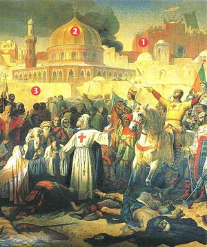History of the Church of the Holy Sepulchre - The capture of Jerusalem by the Crusaders on 15 July 1099 1. The Holy Sepulchre  2. The Dome of the Rock  3. Ramparts