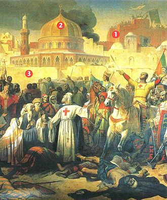 19th-century painting by Emile Signol of the capture of Jerusalem by the Crusaders on 15 July 1099: 1. Church of the Holy Sepulchre, 2. the Dome of the Rock, 3. ramparts Prise de Jerusalem par les Croises, le 15 juillet 1099 Emil Signol, Musee du Chateau Versailles.JPG