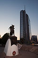 Pristina Government and Skanderbeg statue Giv Owned Image 23 August 2008.jpg
