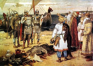 Sineus and Truvor - Rurik and his brothers Truvor and Sineus arrive in Ladoga (Apollinary Vasnetsov).