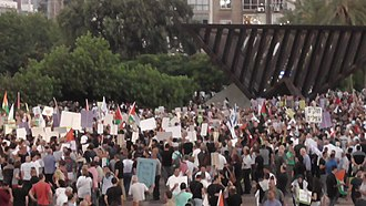 Basic Law: Israel as the Nation-State of the Jewish People - Israeli Arabs and their supporters rally with Palestinian flags against the law in Tel Aviv on 11 August 2018