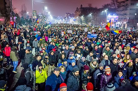 2017-2018 Romanian protests against government policies and corruption, 22 January 2017 Protest against corruption - Bucharest 2017 - Piata Universitatii - 5.jpg