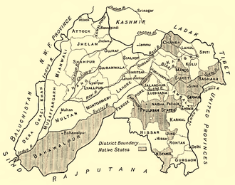 Kangra-Lambagraon - Kangra district in a 1911 map of Punjab