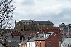 Burngreave - View across typical Burngreave terraced housing to Pye Bank School