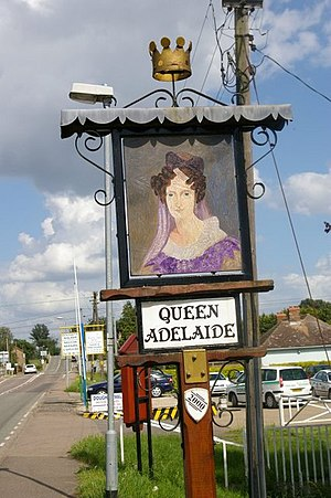 Queen Adelaide, Cambridgeshire - Queen Adelaide sign in the hamlet