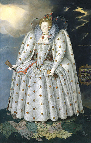 English Renaissance - The Ditchley Portrait of Elizabeth I by the foreign Marcus Gheeraerts the Younger, c.1592