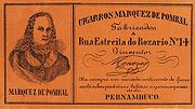 Litografia do Marquês de Pombal em rótulo de cigarro.