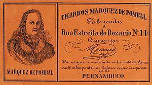 Rótulo de cigarro. Cigarros Marquês do Pombal.