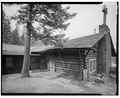 REAR DINING ROOM ENTRANCE, VIEW SOUTHEAST - Roosevelt Lodge, Lodge Building, Tower Junction, Park County, WY HABS WYO,15-TOWJU,1A-3.tif
