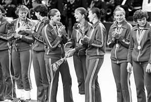 Handball at the 1980 Summer Olympics - Soviet Union women's team during the victory ceremony. RIAN photo.