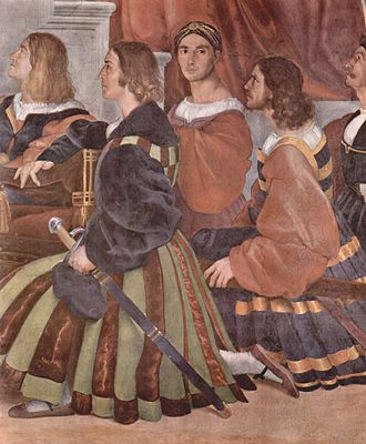 Valet de chambre - Papal valets kneel during The Mass at Bolsena by Raphael, himself a Papal valet who may himself be here, looking at the viewer