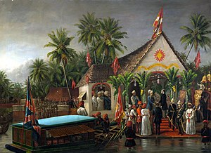 Visakham Thirunal - Painting by Raja Ravi Varma depicting Richard Temple-Grenville, 3rd Duke of Buckingham and Chandos being greeted by Visakham Thirunal, with Ayilyam Thirunal of Travancore looking on, during Buckingham's visit to Trivandrum, Travancore in early 1880.