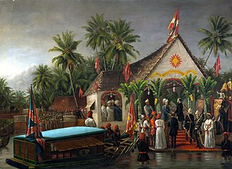 Richard Temple-Nugent-Brydges-Chandos-Grenville, 3rd Duke of Buckingham and Chandos - Painting by Raja Ravi Varma depicting Buckingham being greeted by Visakham Thirunal, with Ayilyam Thirunal of Travancore looking on, during Buckingham's visit to Trivandrum, Travancore in early 1880.