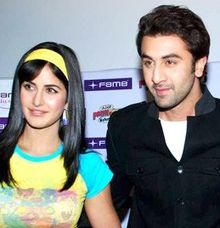 Ranbir Kapoor and Katrina Kaif are standing beside each other