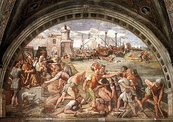 The Battle of Ostia, Fresco in the rooms of Raphael
