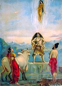 Turunnya Gangga. Lukisan karya Raja Ravi Varma.