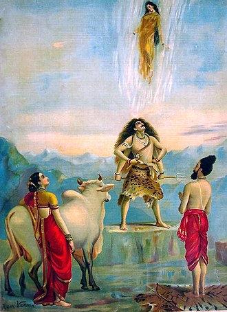 Ganges in Hinduism - Descent Of Ganga – painting by Raja Ravi Varma