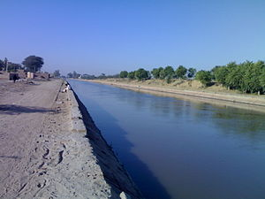 Irrigation in India - An irrigation canal in western Rajasthan.