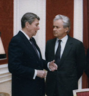 Yuri Dubinin - Dubinin speaking with Ronald Reagan at the Soviet Embassy in Washington, D.C. on 11 December 1988, shortly after the Armenian earthquake.