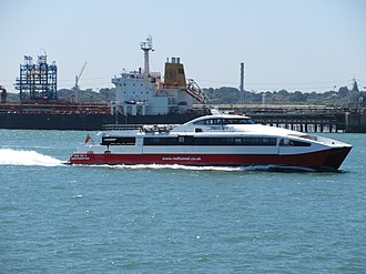Red Funnel - Red Jet 4 passes Fawley refinery