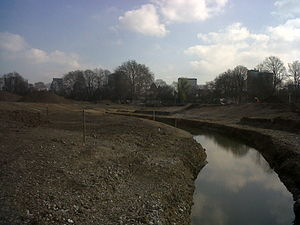 Wandle Park, Croydon - Restoration of the River Wandle in Wandle Park, in 2012