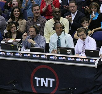 NBA on TNT - Mike Fratello, Reggie Miller and Marv Albert, along with TNT production staff, during an NBA on TNT broadcast