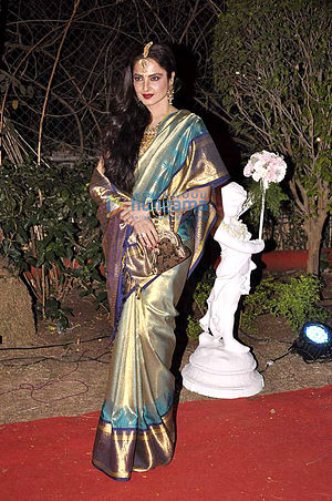 Rekha - Rekha at Ahana Deol's wedding reception in Feb 2014