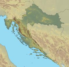 """Mapa konturowa Chorwacji, na dole po prawej znajduje się punkt z opisem """"Dubrownik"""""""