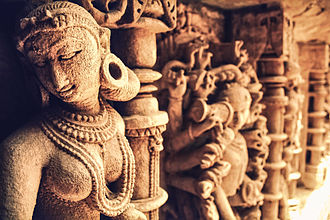 Patan, Gujarat - Richly reliefed nymphs from the walls of the Rani ki Vav, a 1000 year old stepwell