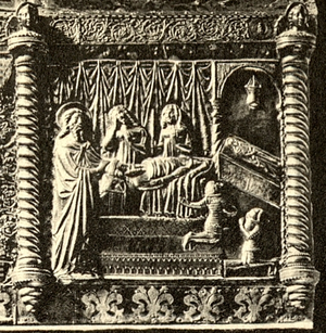 Tvrtko I of Bosnia - Tvrtko with his mother, brother and cousin Elizabeth at the deathbed of his uncle Stephen, as depicted on the Chest of Saint Simeon in the late 1370s