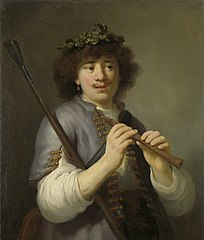 Rembrandt as sheperd with staff and flute