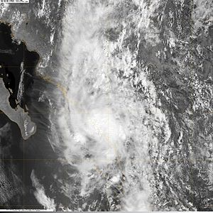Tropical Depression One-E (2009) - Remnants of the depression moving over Sinaloa