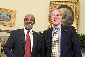 René Préval - René Préval and U.S. President George W. Bush in the Oval Office