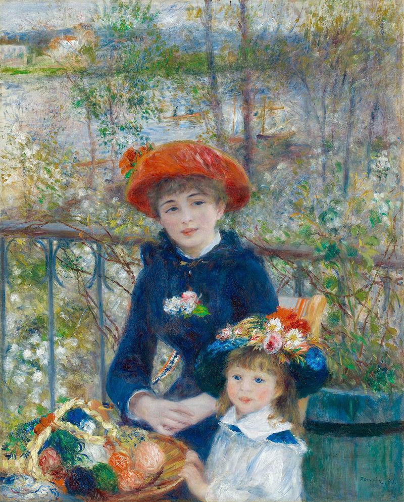 Dos hermanas en la terraza, pintado por Renoir en 1881