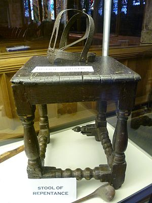 Stool of Repentance - Stool of Repentance and branks, Holy Trinity Church, St. Andrews