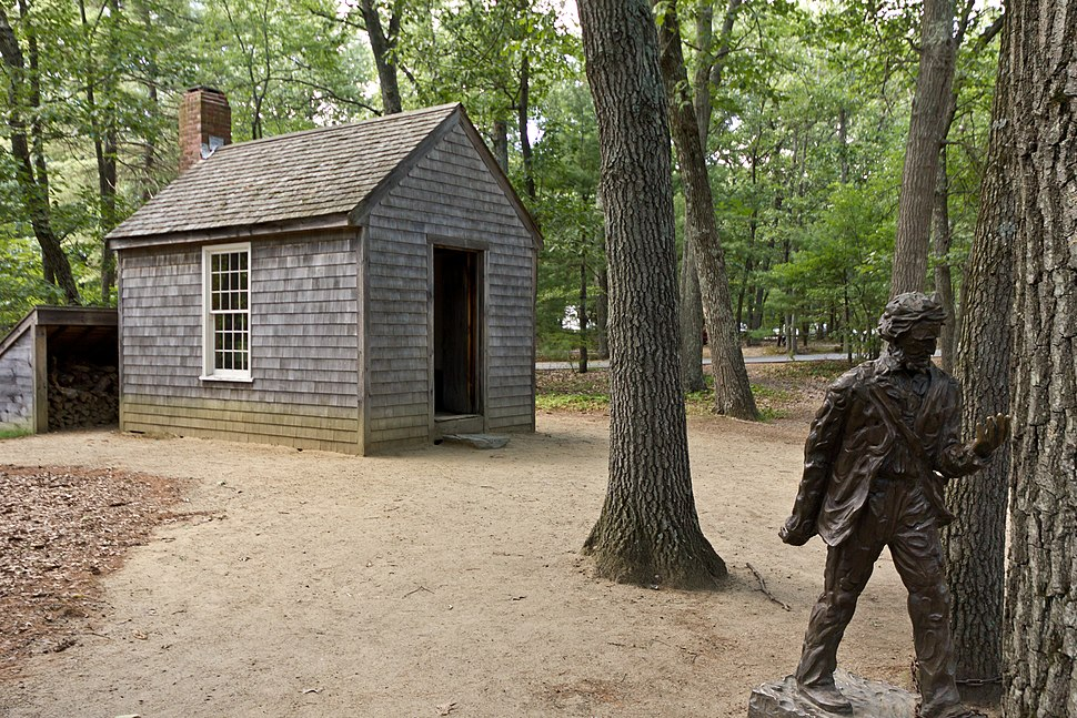 Replica of Thoreau's cabin near Walden Pond and his statue
