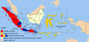 United States of Indonesia - The United States of Indonesia. The constituent state of the Republic of Indonesia is shown in red. The State of East Indonesia is shown in gold as Negara Indonesia Timur. Other constituent states are shown in blue. Autonomous constituent entities are shown in white.