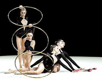 Hoop (rhythmic gymnastics) - Rhythmic gymnasts with hoops.