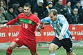 Ricardo Quaresma (L), Pablo Zabaleta (R) – Portugal vs. Argentina, 9th February 2011.jpg