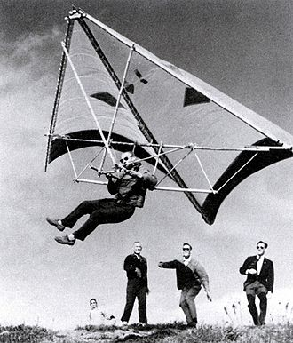 Barry Hill Palmer - Richard Miller flying his new Bamboo Butterfly hang glider. Vista Del Mar California, 1966.