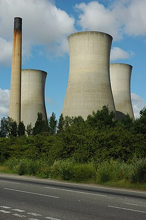 Richborough Power Station - The three cooling towers and chimney of Richborough power station, prior to demolition