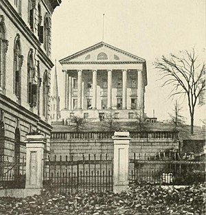 Richmond in the American Civil War - Virginia State Capitol, used as the Confederate Capitol. To the left is the Customs House, used by the Confederate Department of the Treasury and the offices of the President and Vice-President.