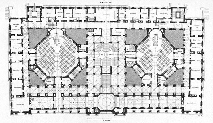 Riksdagshusets planritning med sessionssalarna för Första (till höger) och Andra kammaren (till vänster) presenterades i samband med Allmänna konst- och industriutställningen 1897. Planen har formen av en parallelltrapets, beroende på Helgeandsholmens form och trånga tomt. I ritningens centrum syns den monumentala trapphallen. I planens övre kant löper Riksgatan. Gamla Riksbanken, som numera är en del av Riksdagshuset är ej redovisad på planen.